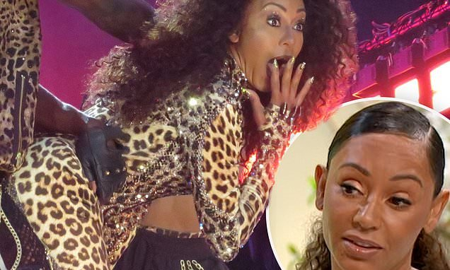 Mel B twerks against a dancer and shocks the audience by SWEARING