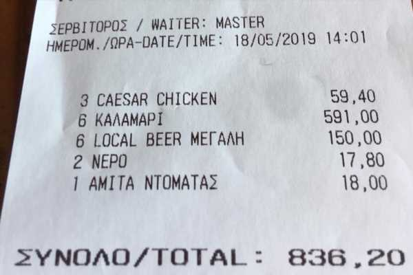 Furious tourist charged £521 for just six pieces of calamari at a restaurant in Greece