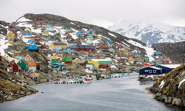 The buildings in Greenland are colour-coded according to their purpose