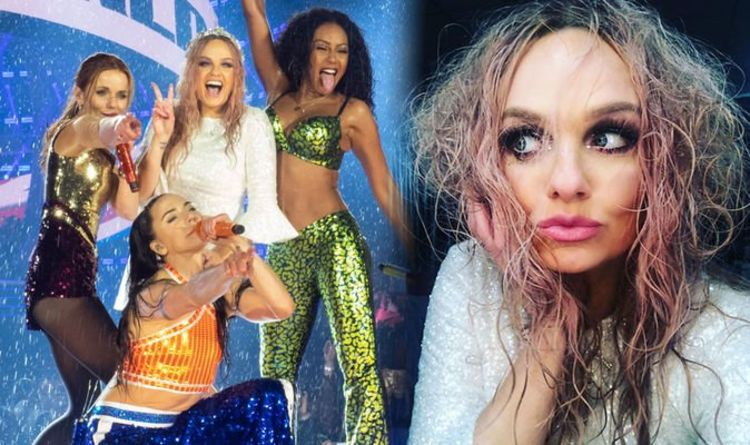 Emma Bunton Instagram: Spice Girl shares 'Drenched Spice' snap as band perform in rain