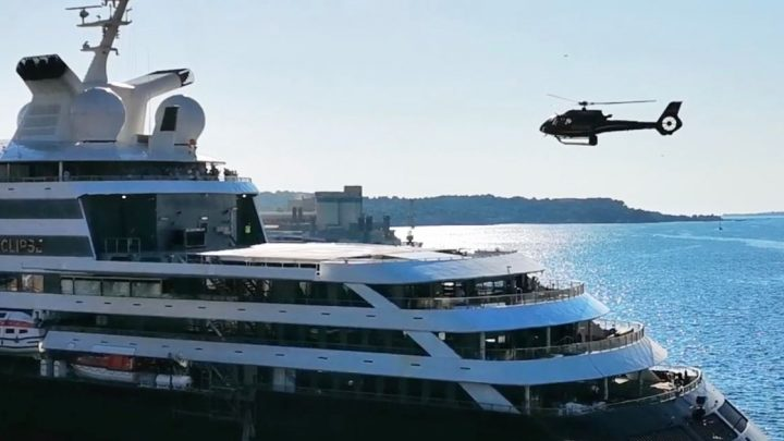 Mega yacht's helicopters can be folded away into the ship and it's so cool