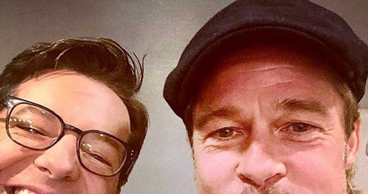 Sean Hayes & Brad Pitt (With a Mouthful of Food) Snap a Selfie!