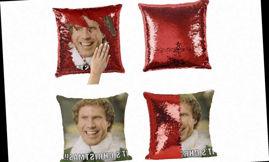 This Buddy the Elf Sequin Pillow Might Be the Best Holiday Decoration We've Seen Yet