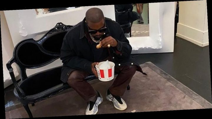 Kim Kardashian and Kanye West order KFC before scoffing bucket at Gaultier's