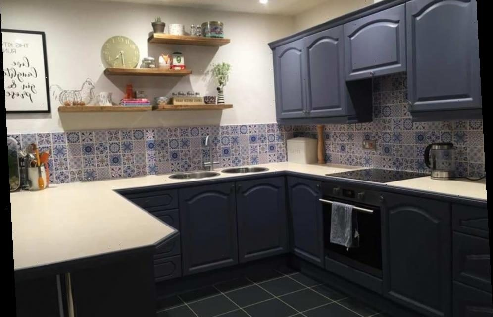 Woman gives her dull kitchen a complete transformation using cheap paint and tile stickers