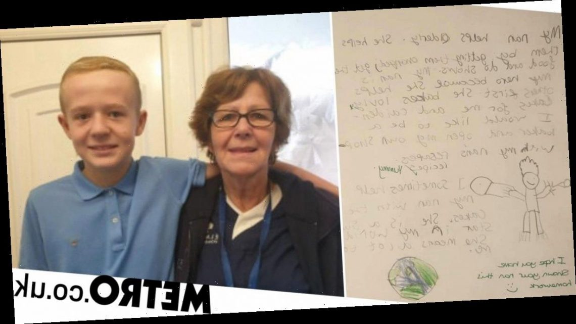 Boy ignores footballers and celebs to call his grandma his hero in homework