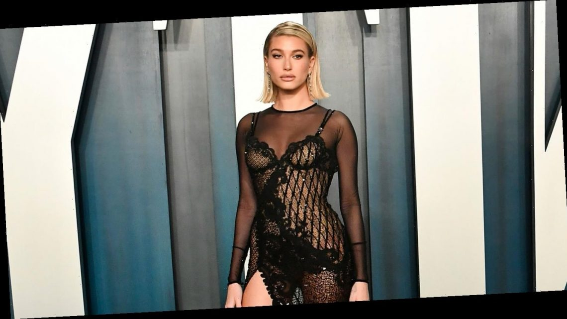 Hailey Bieber Wears Completely Sheer Dress to Vanity Fair Oscar Party 2020!
