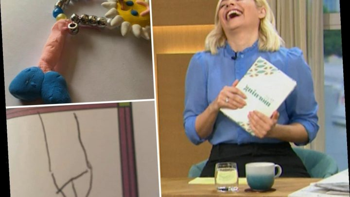 Holly Willoughby and Philip Schofield can't stop laughing as they look at kids' VERY awkward artwork on This Morning