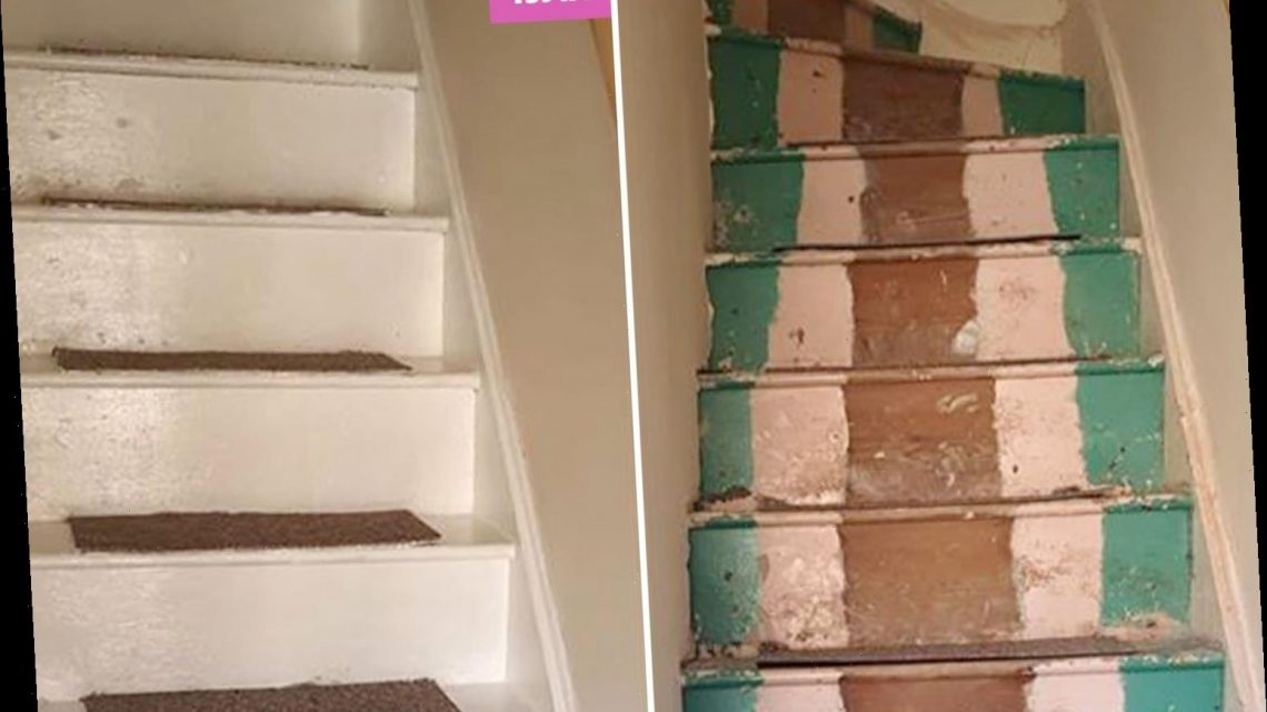 Woman gives her dingy staircase a stunning makeover using B&M carpets tiles and the whole thing cost £12