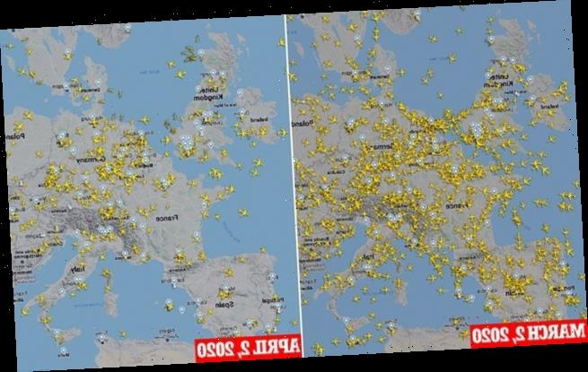 Flight-tracking images show how skies have emptied in the past month