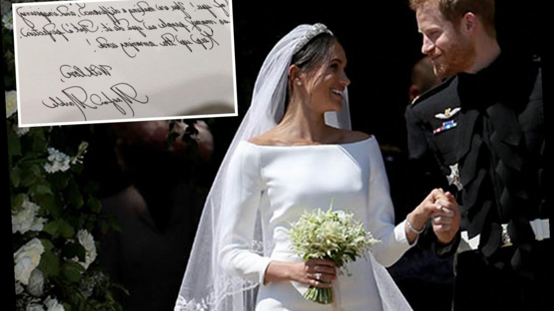 Meghan wrote her wedding speech in calligraphy – calling Harry 'her prince'- and framed it for their first anniversary