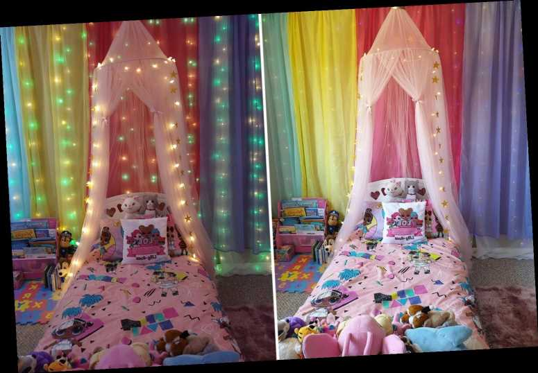 Mum uses funky curtain lights to transform her daughter's bedroom and they only cost a tenner