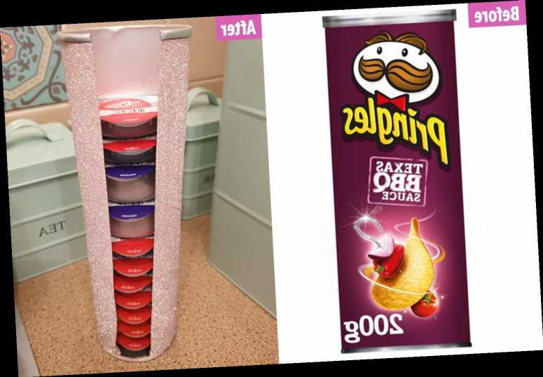 Woman turns old Pringle tube into a coffee holder by using glittery paper & people reckon it's an excuse to eat crisps