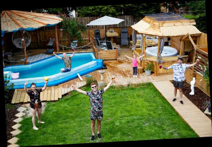 Bloke builds Love Island-themed paradise in his back garden from scratch with a 12ft pool, hot tub & barbecue