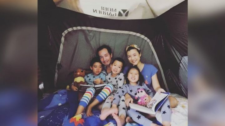 Hong Kong celebrity couple Moses Chan and Aimee Chan take their children on a camping trip – at home
