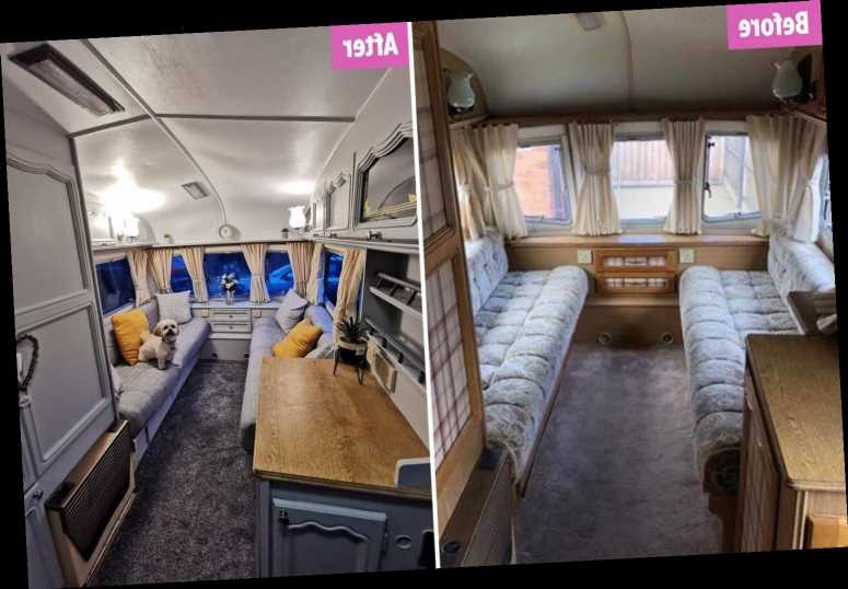 Woman transforms run-down caravan using B&M and The Range bargains and finishes just in time for her holiday