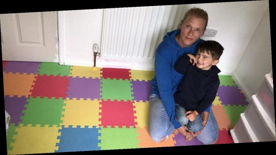 Mum uses £2.80 B&Q tiles to make potty training-proof floor in toddler's bedroom