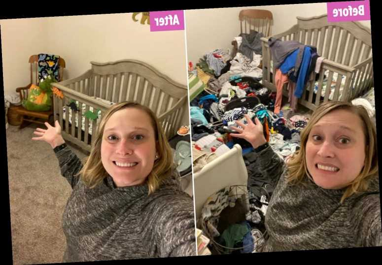 Mum-of-two who let laundry pile up after her son was born finally tackles the mess & she can see her floor again