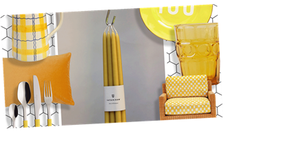 Combat the greyness outside with these cheery egg yolk yellow home accessories