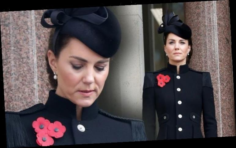 Kate Middleton wears three poppies and earrings borrowed from Queen for Remembrance Sunday