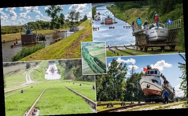 Poland's Elblag Canal moves boats up and down hills on RAIL TRACKS