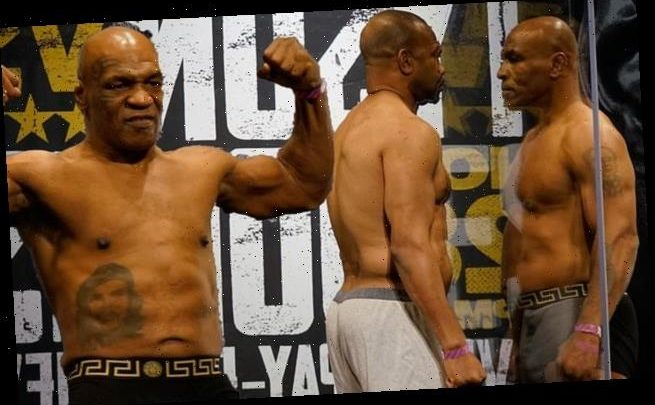 Mike Tyson and Roy Jones Jr. weigh-in for their exhibition bout