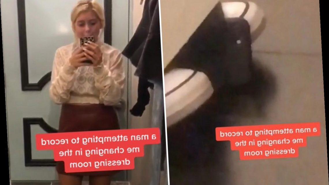 Woman shares horrifying moment she catches a creep trying to film her in a shop's changing rooms