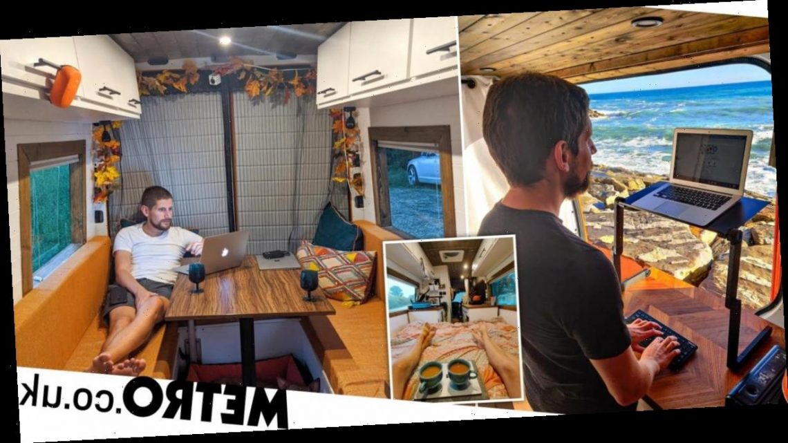 Couple turn used work van into luxury mobile home and use it to travel the world