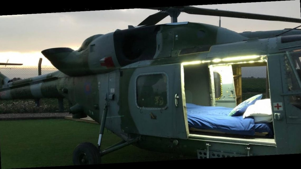 You can stay in a decommissioned helicopter on a former Army base in England for $78 per night — take a look inside