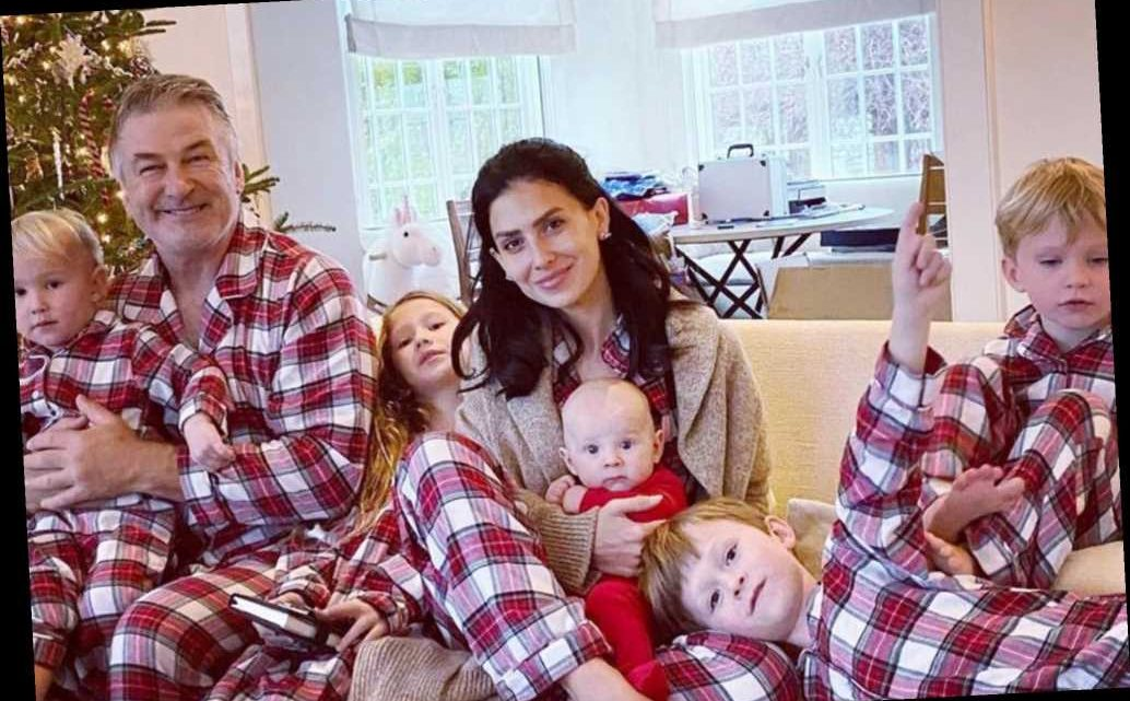 Baldwin family match in plaid PJs on Christmas Morning