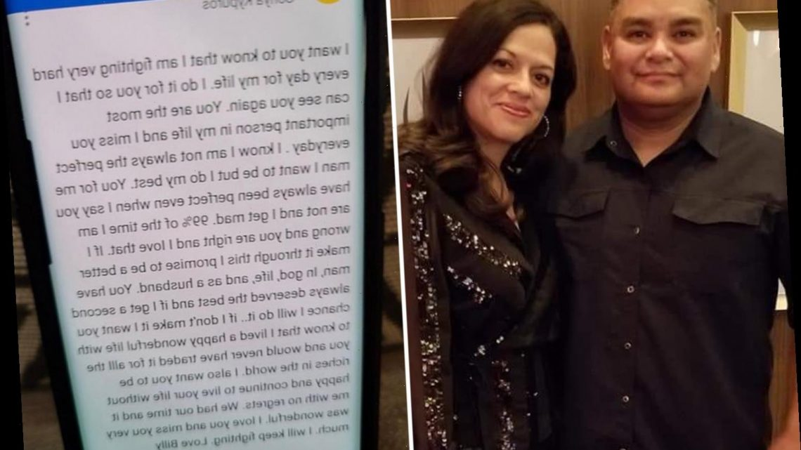 Wife shares heartbreaking love letter her husband penned before dying of Covid urging her to live with 'no regrets'