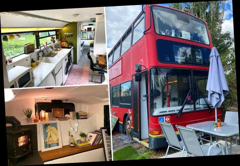 We're mortgage and rent-free after buying a £2,500 double decker London bus and turning it into a stylish home