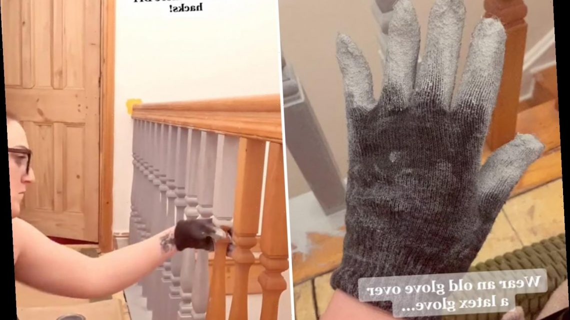 DIY fan shares genius tip to paint the banister (and all the fiddly bits) in minutes & all you need is an old glove
