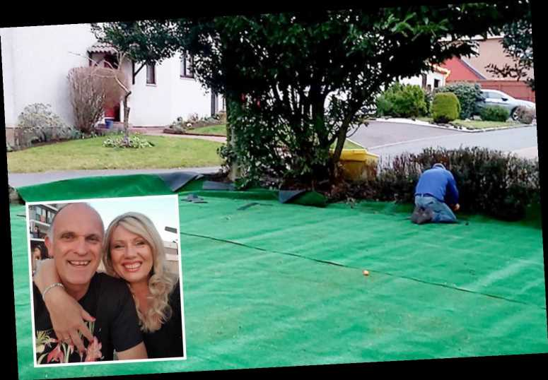 Woman in hysterics when her husband proudly shows off the 'astroturf' he's laid in the garden but it's actually CARPET