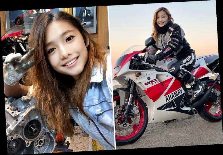 Glam motorbike rider's photo goes viral – and it's not just the fact she's 50 that's left people gobsmacked