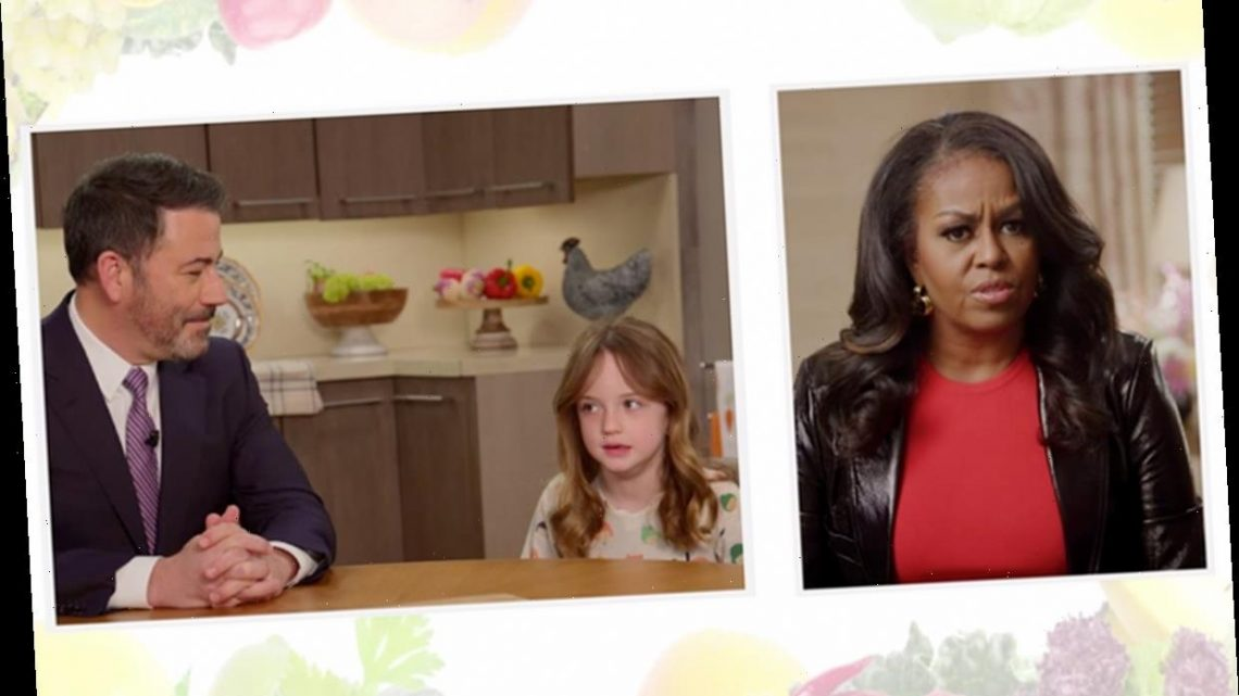 Watch Michelle Obama Hilariously Attempt to Get Jimmy Kimmel's Daughter Jane, 6, to Eat Vegetables