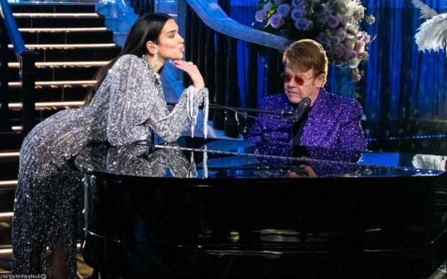 Dua Lipa and Elton John Match in Bedazzled Outfits During Virtual Oscar Party