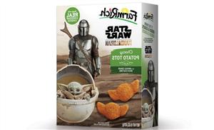 Farm Rich's Baby Yoda-Shaped 'Mandalorian' Cheesy Potato Tots Are A Super Cute Snack