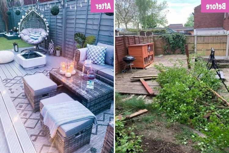 Thrifty couple quoted £10k to overhaul garden create stunning space with B&M bargains (and there's even an egg chair)
