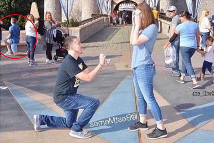 Disneyworld proposal ridiculed as couple get engaged in front of the castle as another bloke proposes in the background