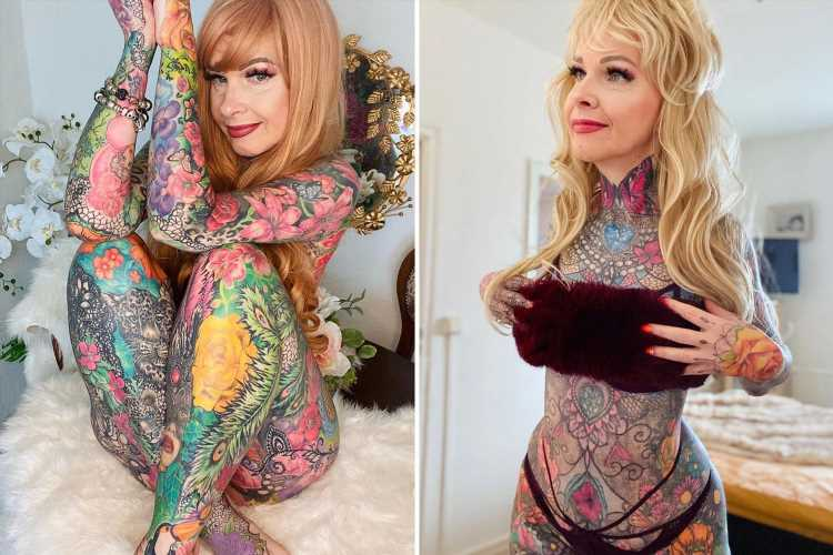 I'm a gran & I've spent £25k covering my body in tattoos in five years, it's my life savings & I love showing them off