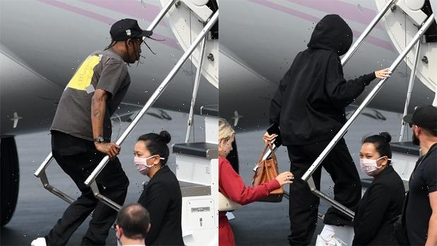 Kylie Jenner & Travis Scott Jet Out Of Miami After Celebrating His Birthday Together