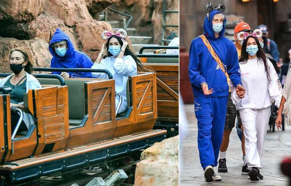 Megan Fox and Machine Gun Kelly don matching sweats for Disneyland date