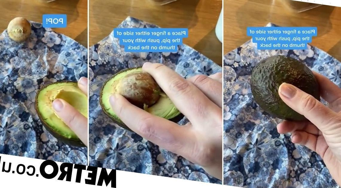 Woman shows how to remove the stone from an avocado with just one hand