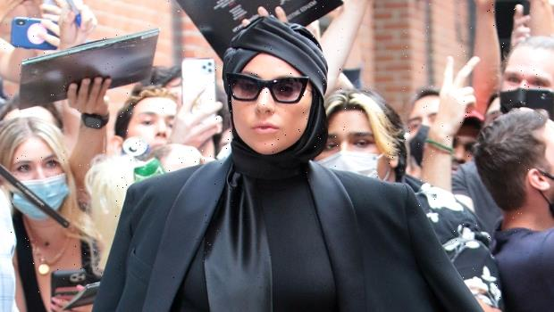 Lady Gaga Stuns In Bodysuit, Sparkly Tights & Massive Platform Heels While Out In NYC