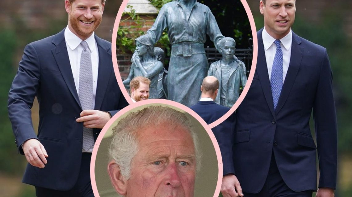 Prince Harry & Prince William Present United Front For Princess Diana Statue Unveiling – But Prince Charles Skips Out