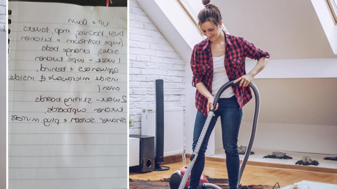 Woman roasted for 'small' list she expects her cleaner to do in an hour – including dusting & hoovering the WHOLE house