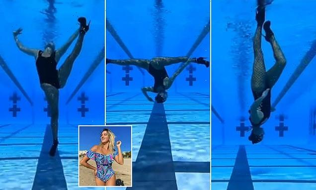 Woman shows off underwater dancing on TikTok in heels and fishnets