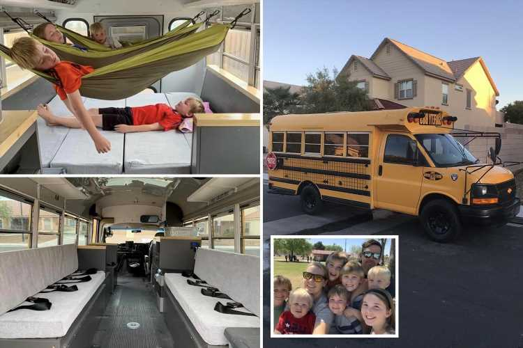 Family convert old school bus with kids sleeping in HAMMOCKS – and they save £2k a year on holidays