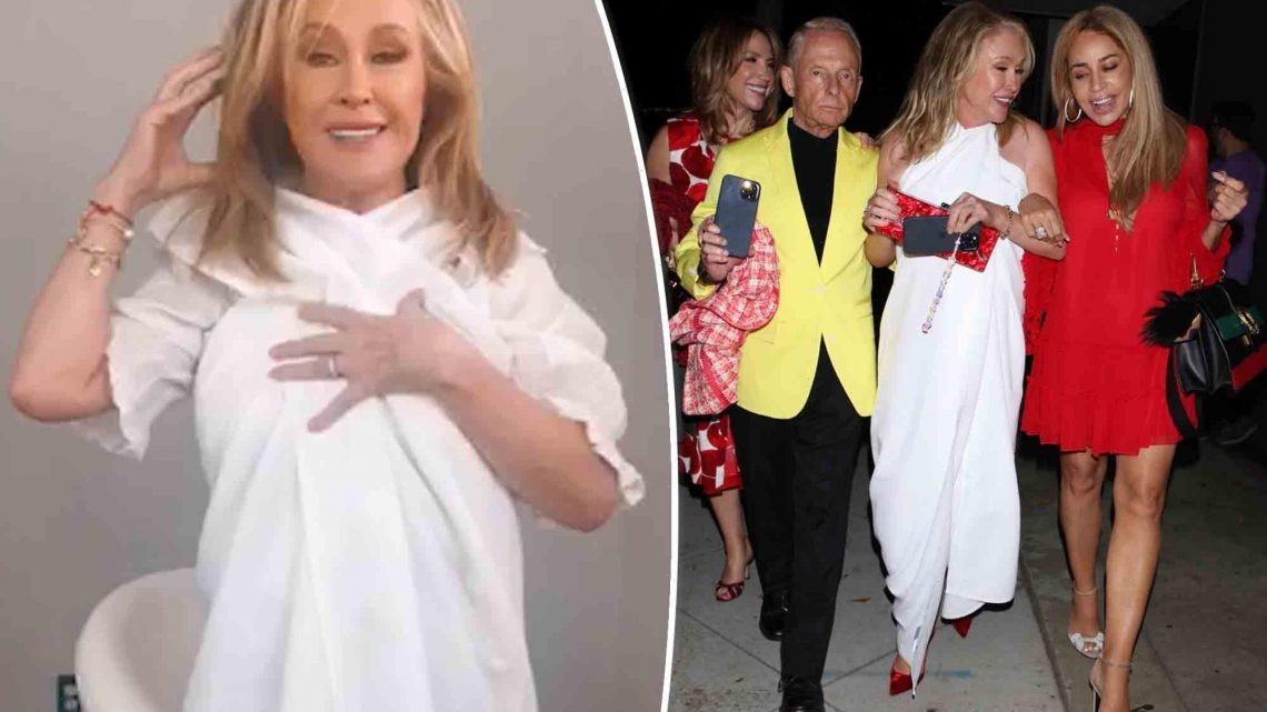 Kathy Hilton explains her tablecloth couture: 'I was roasting'